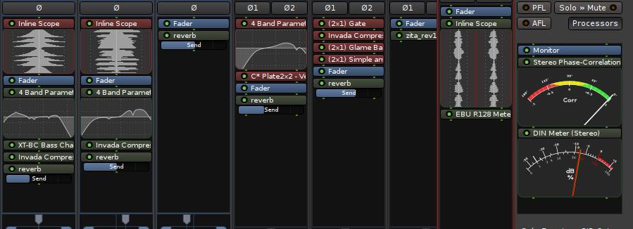 mixer showing several inline displays