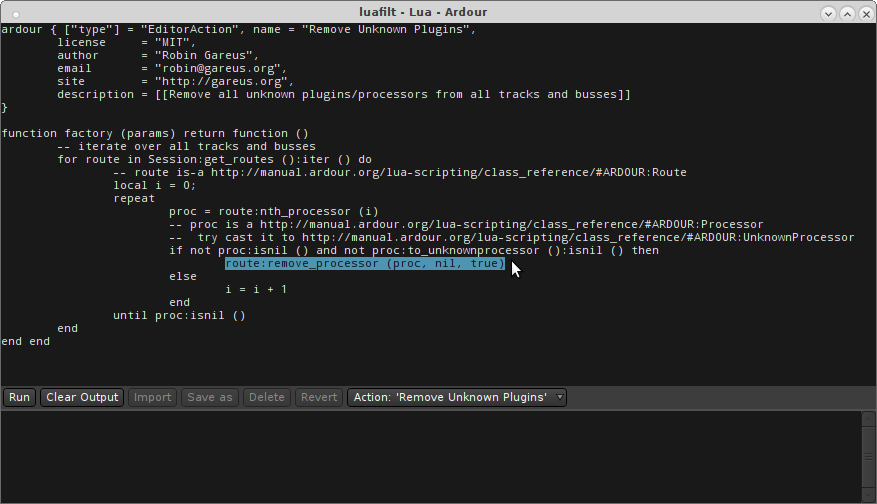an example of a Lua script being edited/used