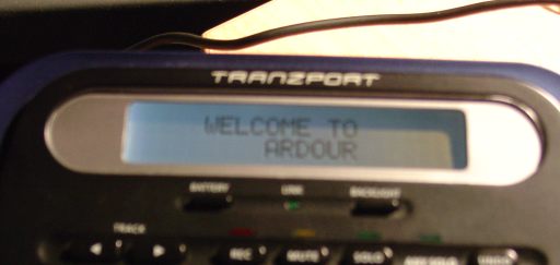 a picture of the Tranzport screen under Ardour's control