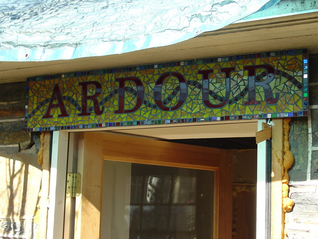 a mosaic sign saying ardour